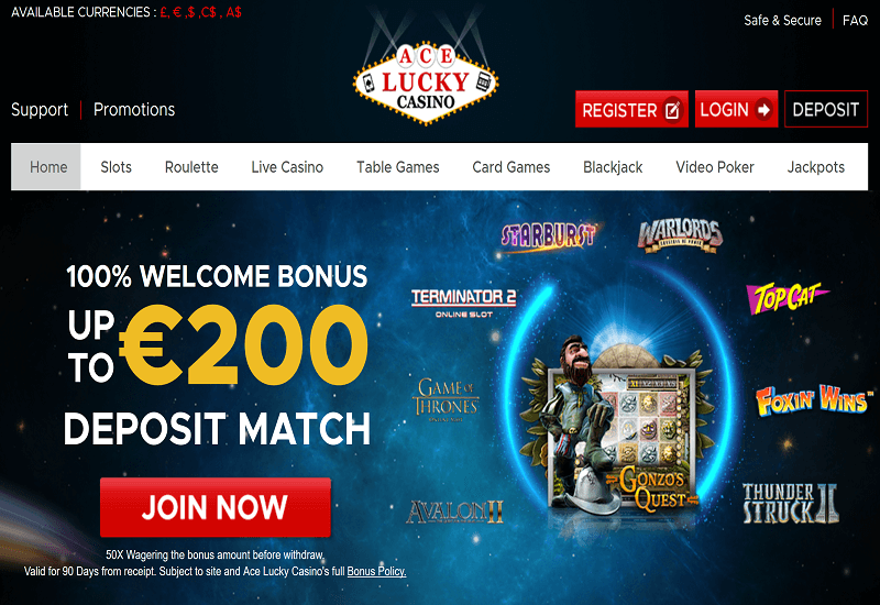 Ace Lucky Casino Home Page