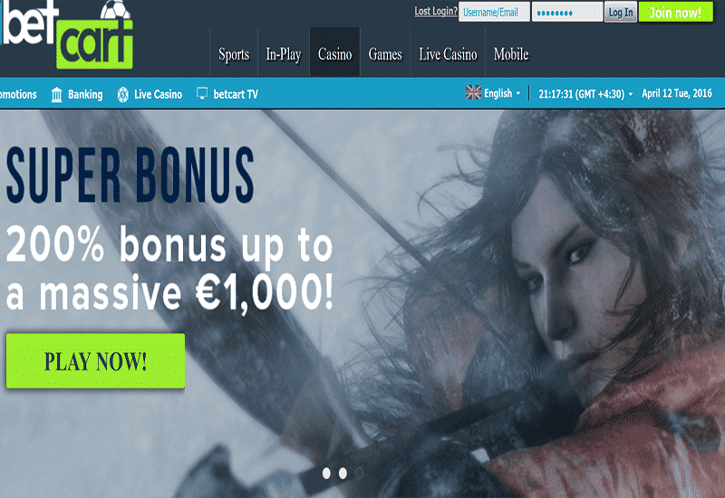 Bet Cart Casino Home Page