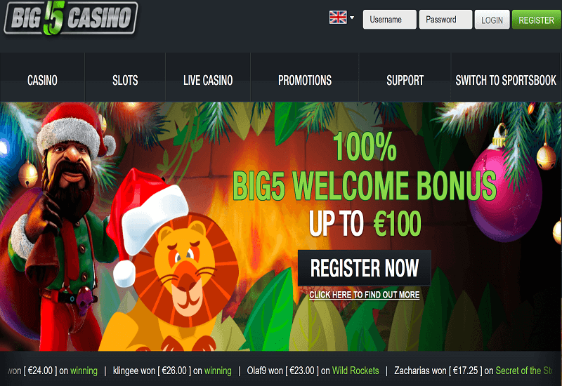 Big 5 Casino Home Page