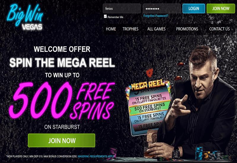 Big Win Vegas Casino Home Page