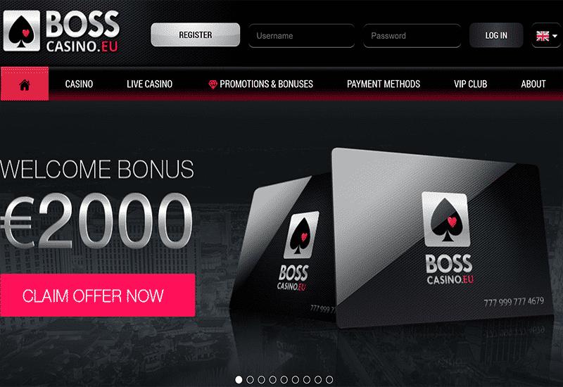 Boss Casino Home Page