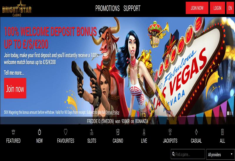 Bright Star Casino Home Page