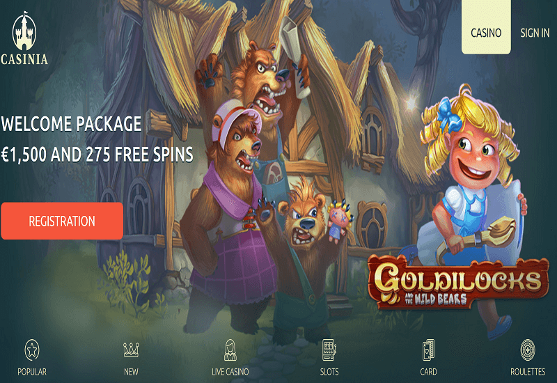 Casinia Casino Home Page