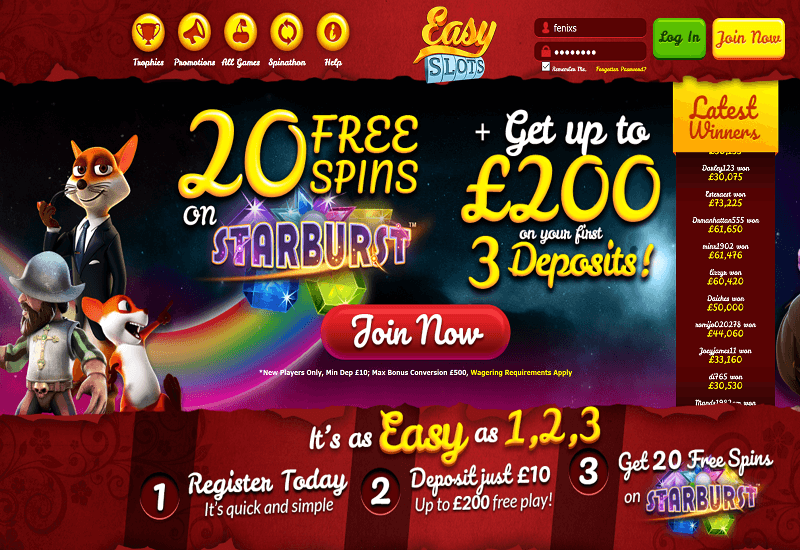 Easy Slots Casino Home Page