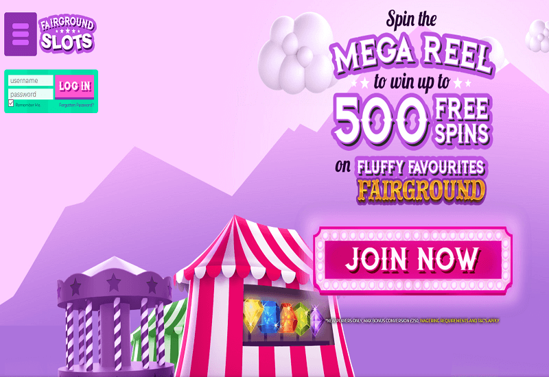 Fairground Slots Casino Home Page