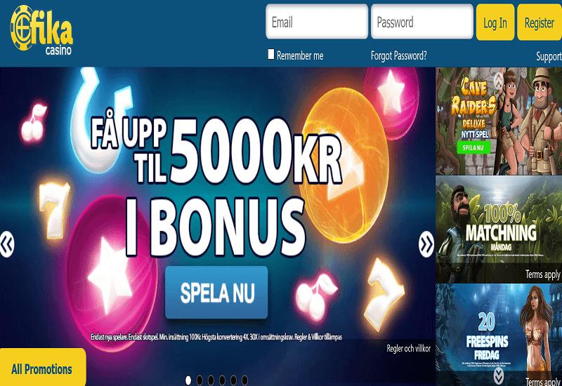Fika Casino Home Page