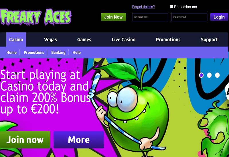 Freaky Aces Casino Home Page