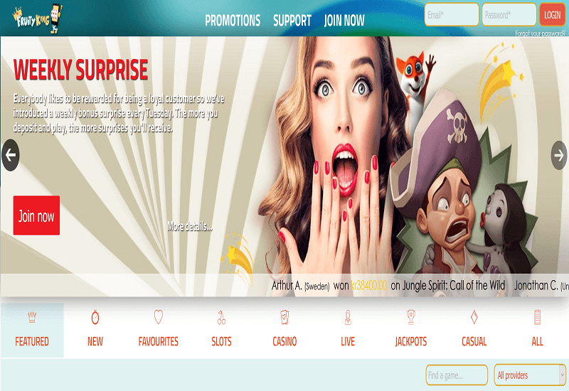Fruity King Casino Home Page