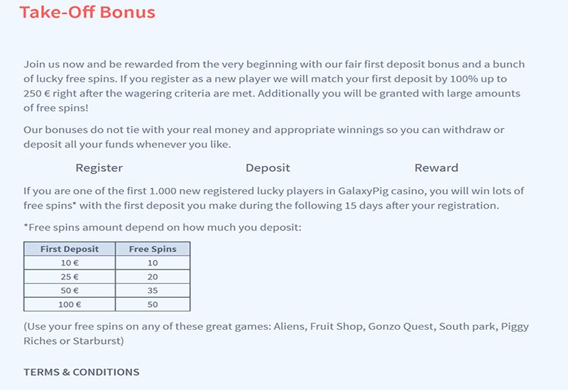 Galaxy Pig Casino Promotion