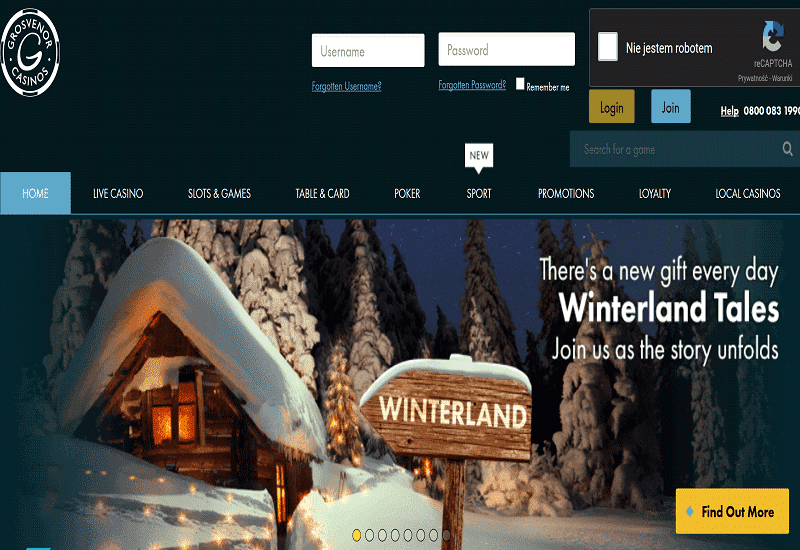 Grosvenor Casino Home Page