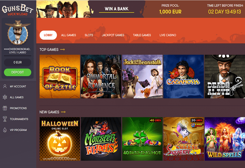 GunsBet Casino Home Page