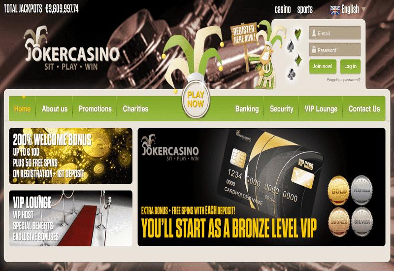 Joker Casino Home Page