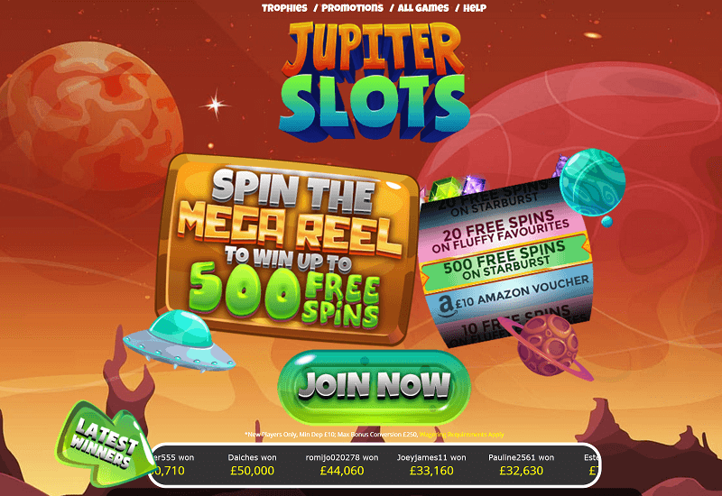 Jupiter Slots Casino Home Page