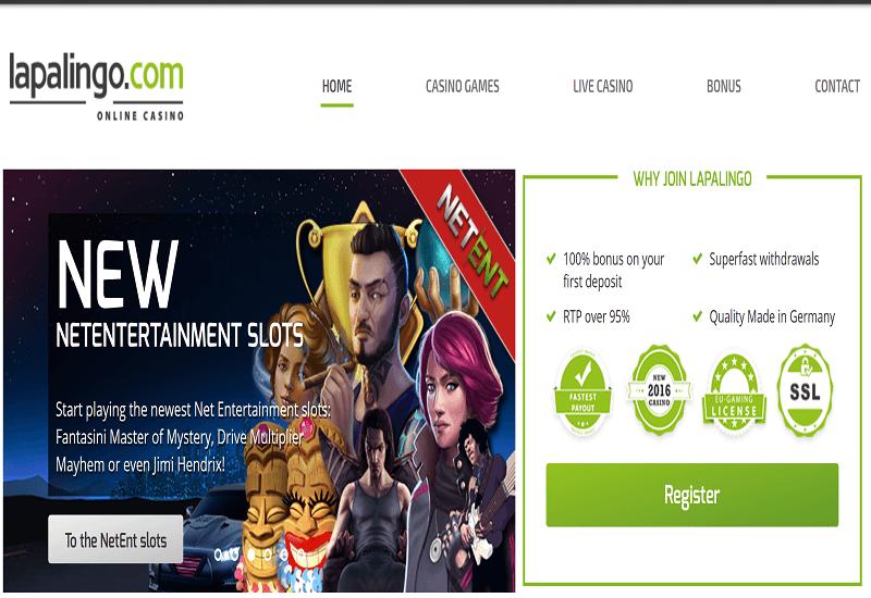 Lapalingo Casino Home Page