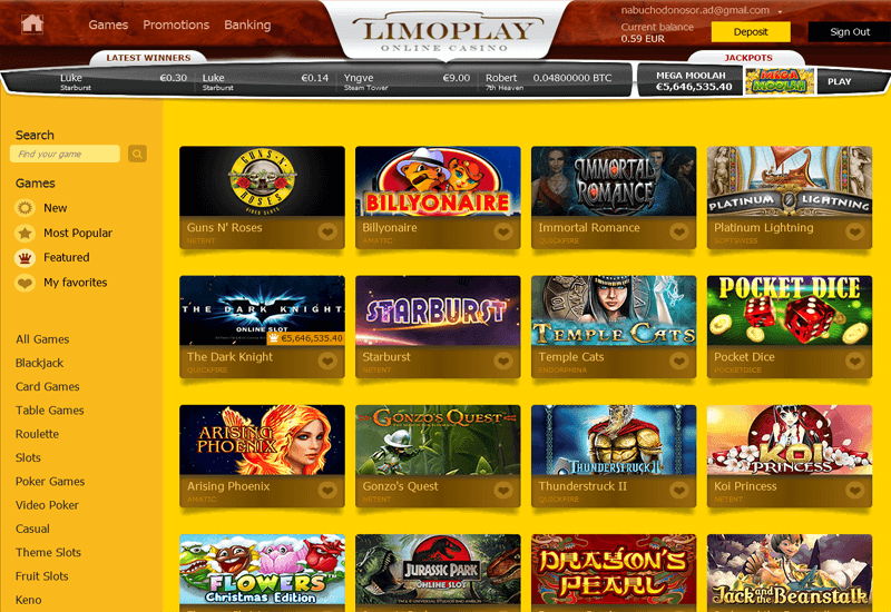 Lucky Casino Home Page