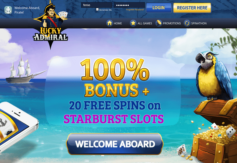 Lucky Admiral Casino Home Page