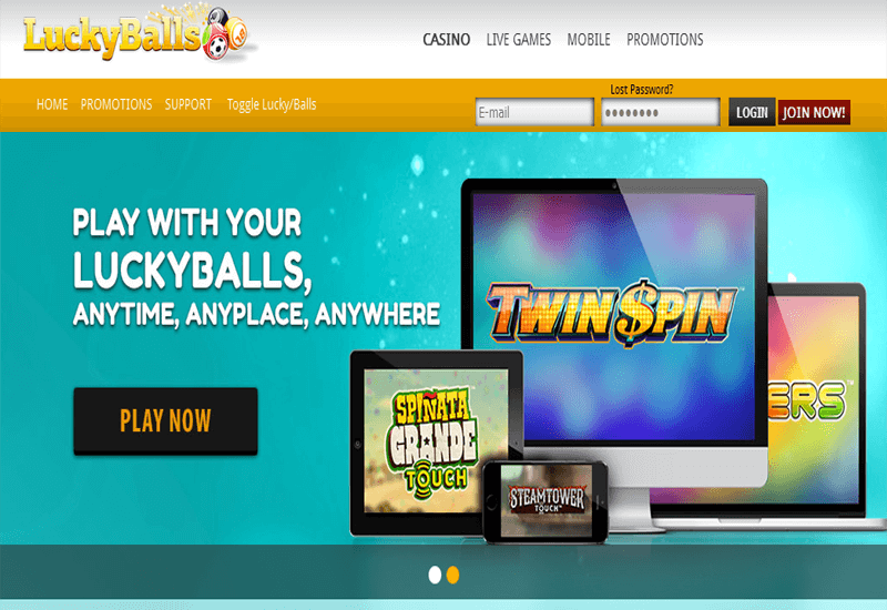 Lucky Balls Casino Home Page