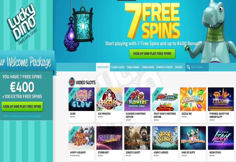 Lucky Dino Casino Home Page