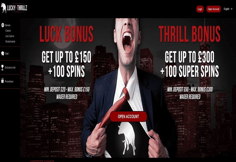 Lucky Thrillz Casino Home Page