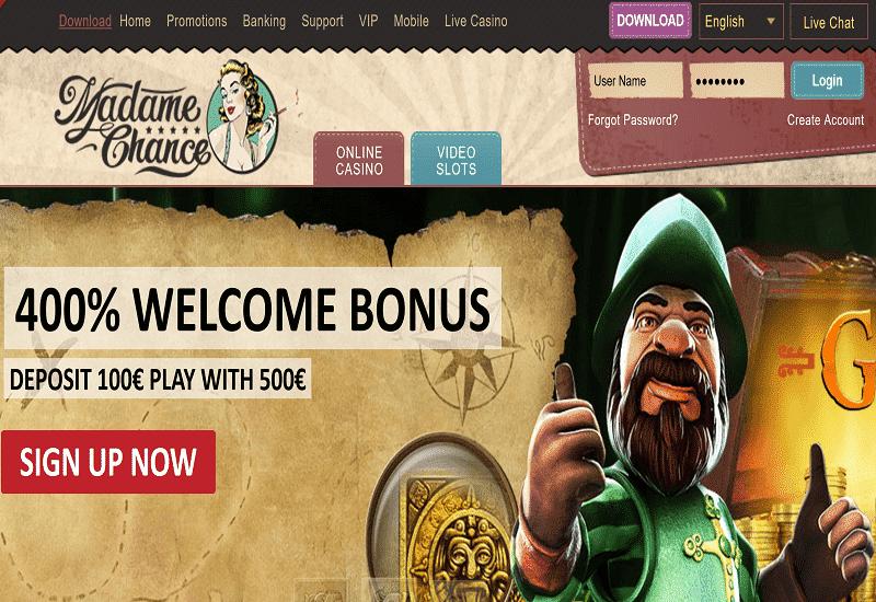 Madame Chance Casino Home Page