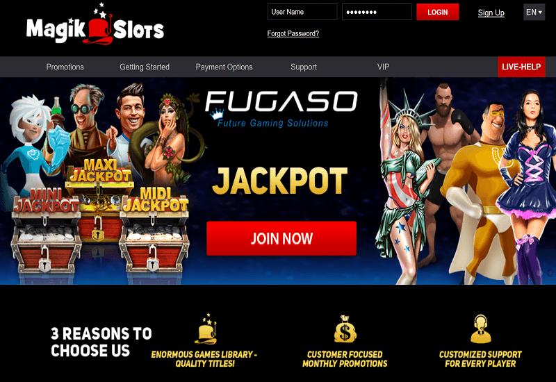 Magik Slots Casino Home Page
