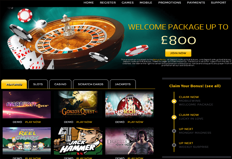 Mobile Wins Casino Home Page