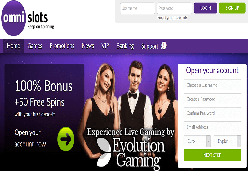 Omni Slots Casino Home Page