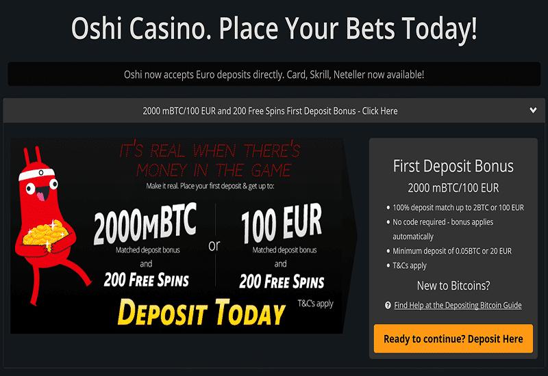 Oshi Casino Home Page