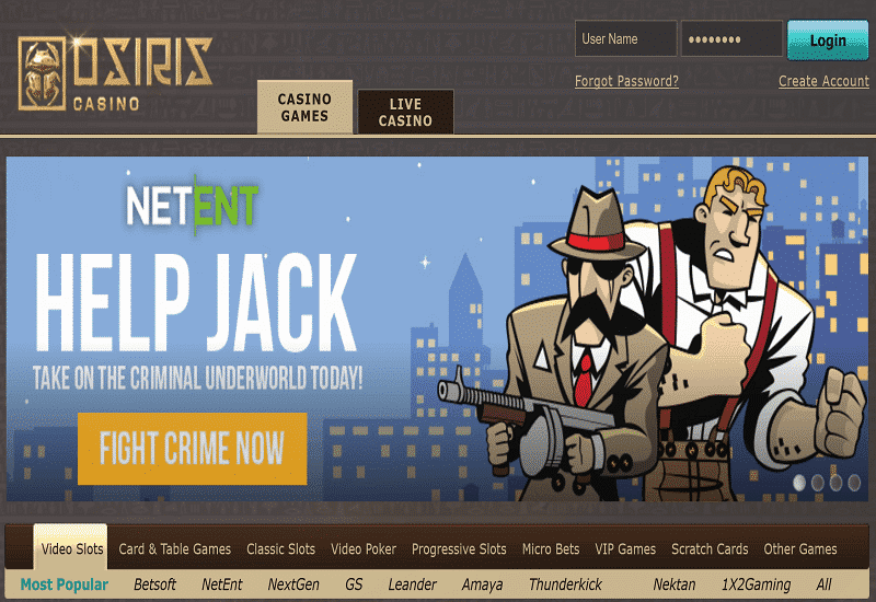Osiris Casino Home Page