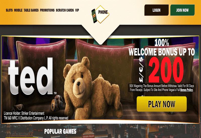 Phone Vegas Casino Home Page
