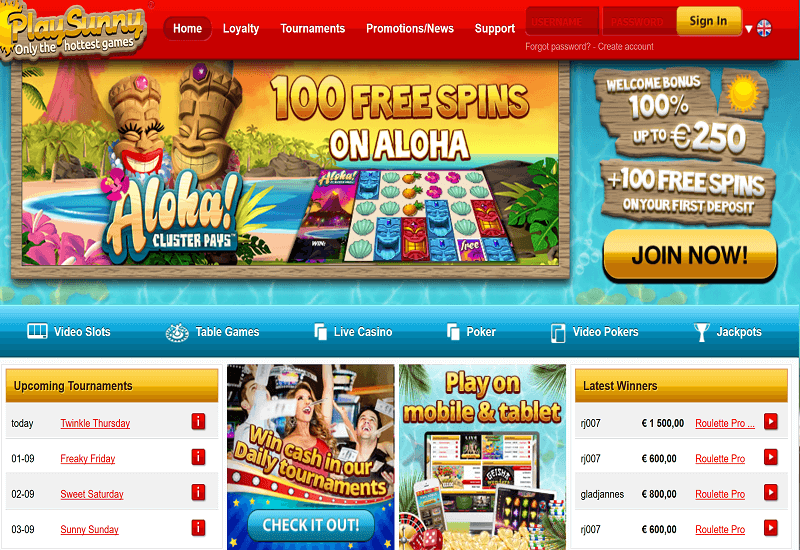 Play Sunny Casino Home Page