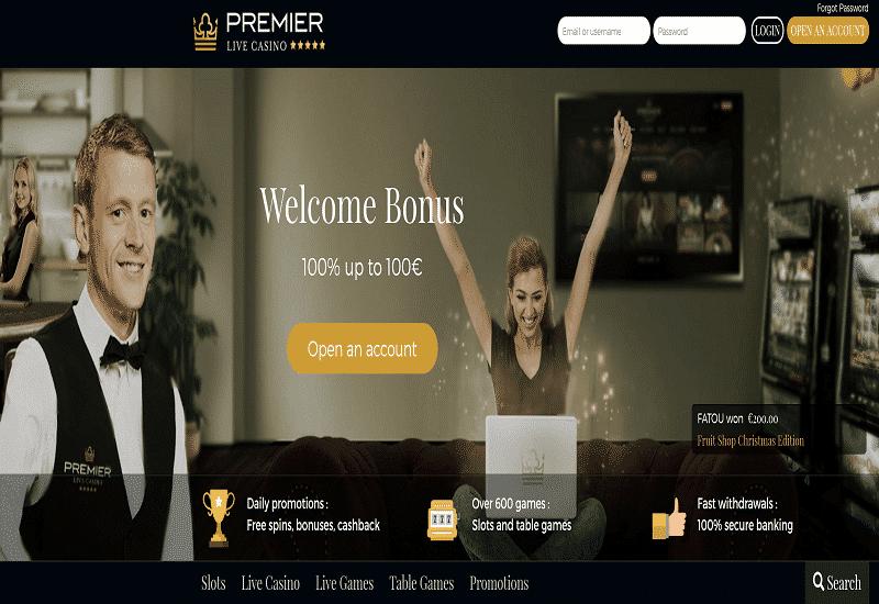 Premier Live Casino Home Page