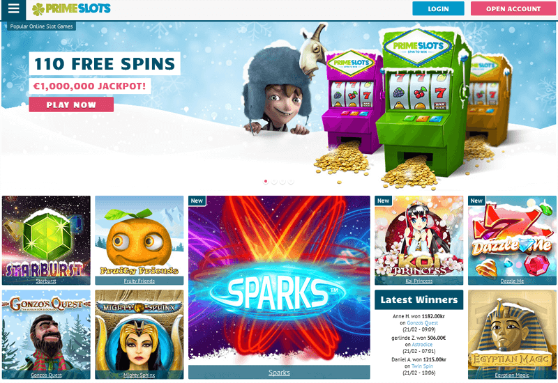 Prime Slots Casino Home Page