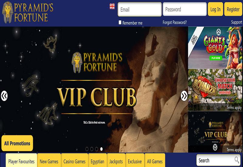 Pyramids Fortune Casino Home Page
