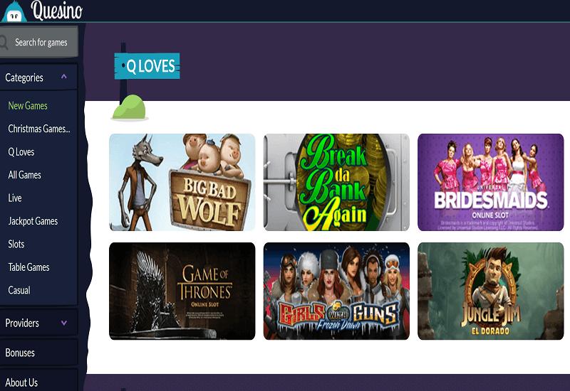 Quesino Casino Home Page