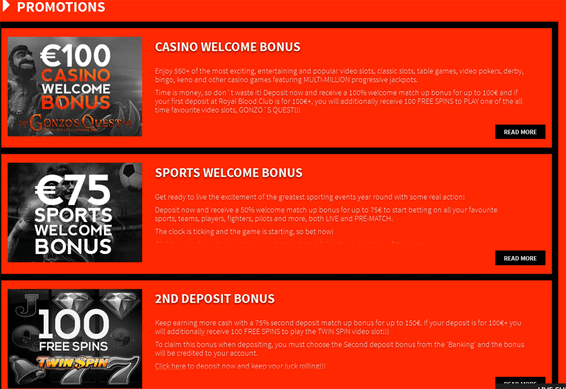 Royal Blood Club Casino Promotions