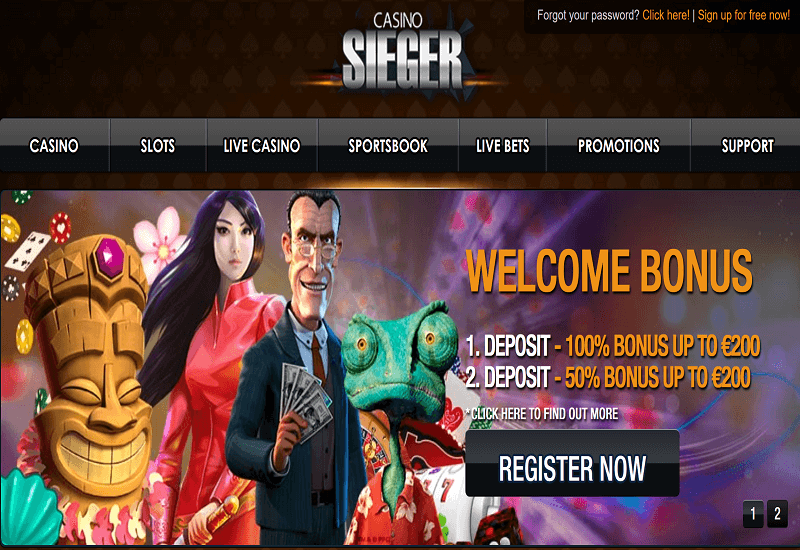 Sieger Casino Home Page