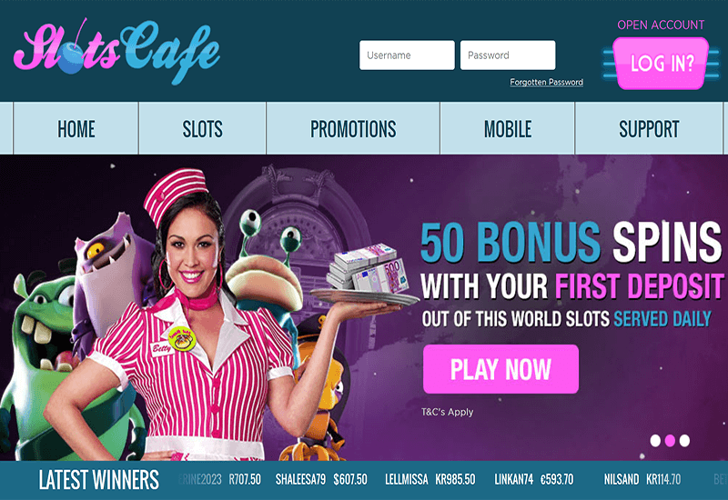 Slots Cafe Casino Home Page
