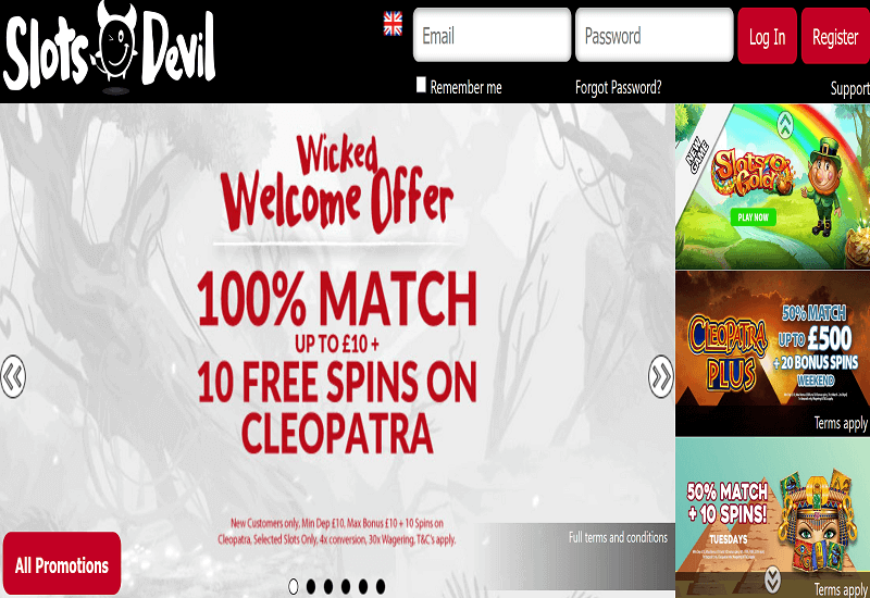 Slots Devil Casino Home Page