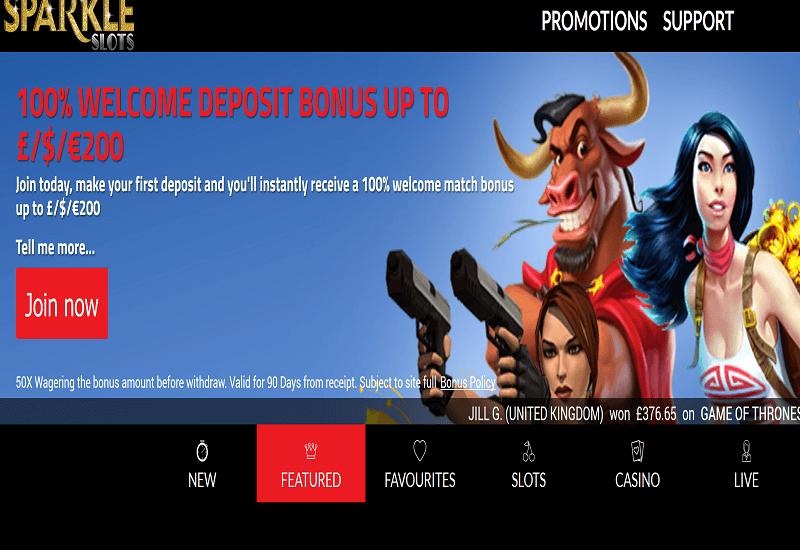 Sparkle Casino Home Page