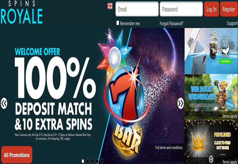 Spins Royale Casino Home Page
