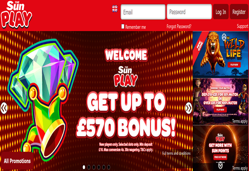 The Sun Play Casino Home Page