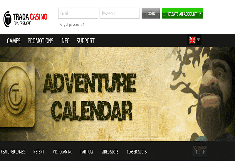 Trada Casino Home Page
