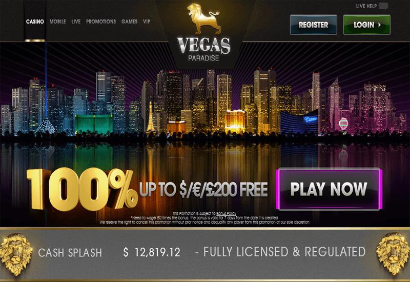 Vegas Paradise Casino Home Page