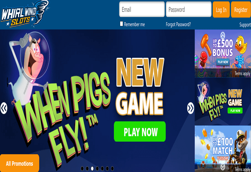 Whirlwind Slots Casino Home Page