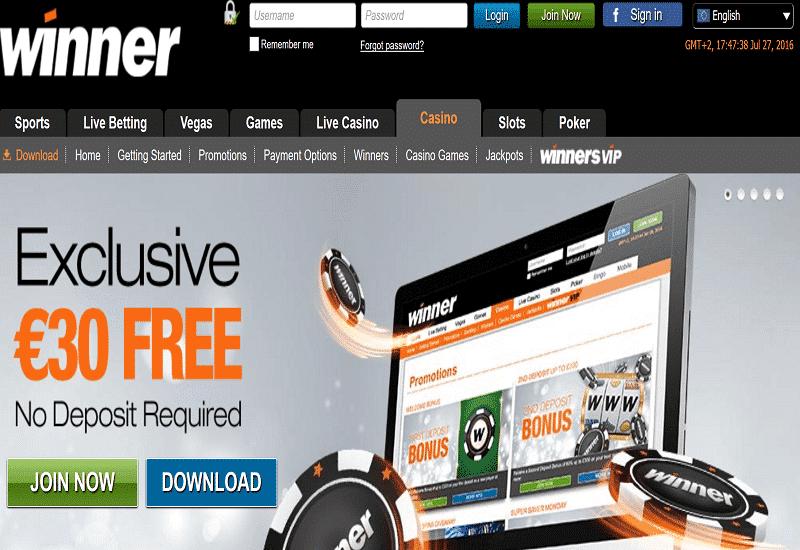 Winner Casino Home Page