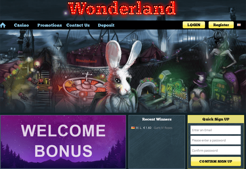 Wonderland Casino Home Page