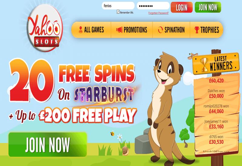 Yohoo Slots Casino Home Page