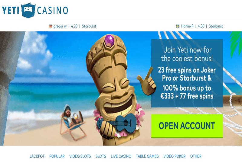 Yeti Casino Home Page