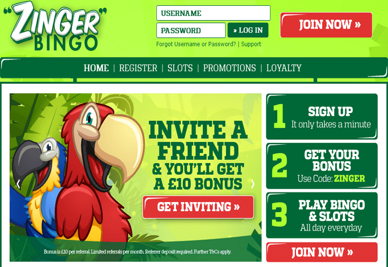 Zinger Bingo Casino Home Page